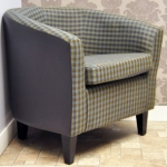 Check Fabric Tub Chair