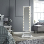 LED Jewellery Armoire Mirror in White