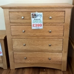 Sleepcraft Knightsbridge Solid Oak 4 Drawer Chest