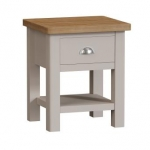 Truffle Oak Lamp Table with Draw