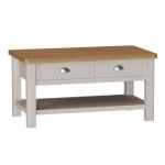 Truffle Oak Large Coffee Table With 2 Draws